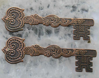 Copper Ox Steampunk brass keys with Victorian styling..