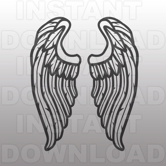 Angel Wings Feathers Svg File Cutting Template Clip Art For