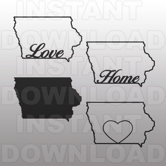 Iowa State Outline Svg File Commercial Amp Personal Use Vector