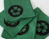 Cotton linen napkins, screenprinted napkins, linen serviettes, cherry flower, green napkins,table napkins,pollination, hand dyed,reusable