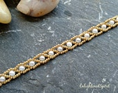 Gold and white pearl bracelet, gold seed beads, glass pearls, tennis bracelet, handbeaded, bridal, bridesmaids, mother of the bride