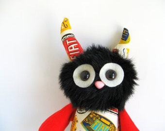 Monster Stuffed Animal Plush Toy made from Vintage apron in FIAT print Gifts for Nephew