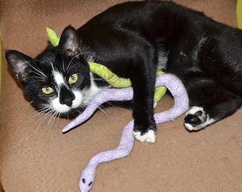catnip snake, cat toy, organic catnip, kitty toy, catnip toy, cat snake toy, lilac floral fabric