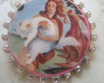 Botticelli Painting With Woman Holding Cat Brooch/Pin