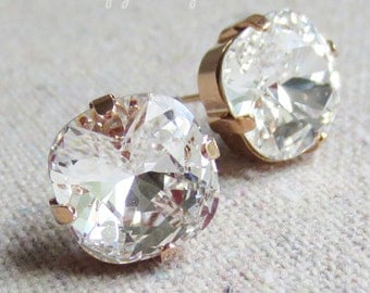 Swarovski Clear Faux Diamond Cushion Cut Rounded Square Crystal Rose Gold Statement Post Earrings Bridal Jewelry Bridesmaids Gifts