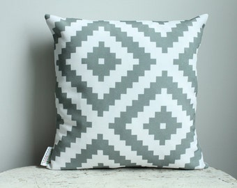 Pillow cover grey aztec 14 inch 14x14 modern hipster accessory home decor nursery baby gift present zipper closure canvas ready to ship