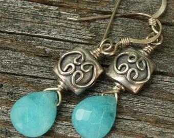 Sterling Silver Blue Quartz Dangle Earrings, Faceted Briolette Earrings, Handmade Gemstone Earrings, Sterling Silver Earrings, SS Jewelry
