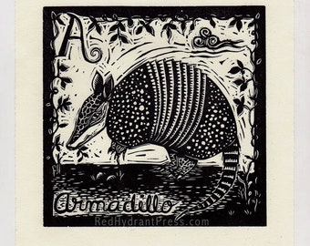 A is for armadillo spanish animal alphabet print