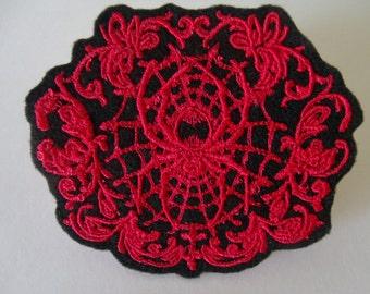 Red Spider Web Damask Embroidered Iron On Patch, Patches, Embroidered Patch, Embroidered Applique, Gothic Elegant, Black Felt, Lolita Patch