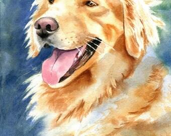 Golden Retriever Painting Dog Portrait Art Original Watercolor Art Pet Portrait
