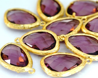 Top Quality 2pcs Plum Glass Polished Real Gold Plated Brass Pendants GLAA