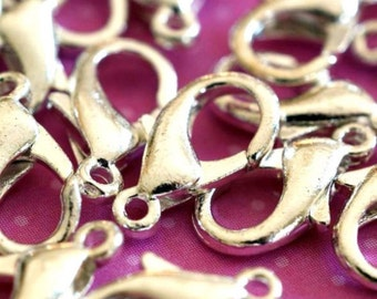100pcs Silver Plated Parrot Clasps