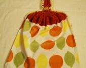 Hanging Dish Towel, Kitchen Towel, Crochet Top Towel, Lemons Towel,Kitchen Accessories #105
