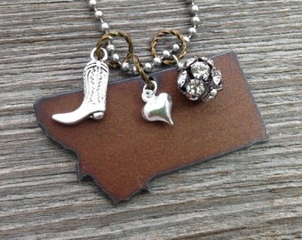 I love MONTANA necklace - Rustic State Shape Rhinestones and Charm - Pickup Truck Cowboy Boot Hat Gun Camper