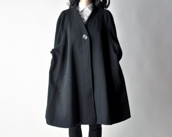 deep web kimono style swing coat / black minimalist coat