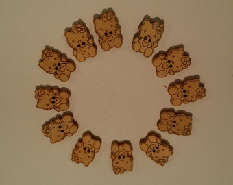 50 pieces - Laser  Engraved Wooden Buttons - Kitty cat shaped