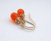 Orange Petite Teardrop Wire Wrapped 14k Goldfilled Dangle Earrings UK Seller Contemporay Jewellery Gift Idea