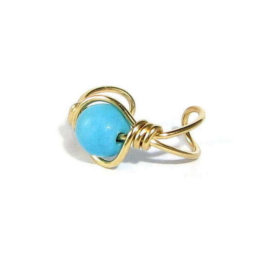 14k Gold Filled Ear Cuff Sky Blue Chalk Turquoise Small bead size cartilage earring minimalist earring non pierced