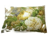 Decorative Pillow Cover Lumbar Bold Floral Design Yellow Green Taupe Gray White Same Fabric Front/Back 12x18 inch x