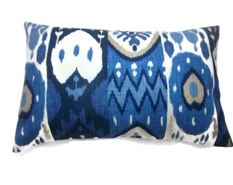 Decorative Pillow Cover Lumbar Shades pf Blue White Taupe Ikat  Heavy Linen Toss Throw Accent  12x18 inch x