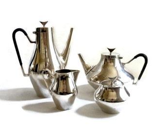 Mid Century Modern Coffee Tea Set Reed and Barton John Prip Denmark Modernist