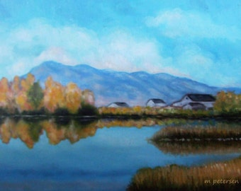 Original 11 x 14 Inch Oil Painting on Canvas Lovely Blue Sky Mountain Lake Reflective Landscape of the Western United States Utah 2