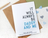 Father's Day Daddy And Me Personalised Card. Daddy Typography Card. Personalised Fathers Day Card. Daddy Card. Daddy Keepsake.