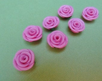 Polymer Clay Rose Beads, Bright Pink Roses, Canework Roses, Artisan Made Beads, Hand Made Beads, Adorned Clay Jewels, DESTASH, 7 Bead Set