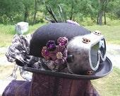 Ladies Purple/Black Steampunk / Steam Punk Bowler Hat Steel Colored Goggles Owls