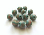 Matte Opaque Turquoise Ribbed Bicone Czech Glass Beads with Copper Inlay, 10mm - 12 pieces