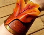 Forest Leaf Leather Cuffs - Fall Druid Tooled Bracers
