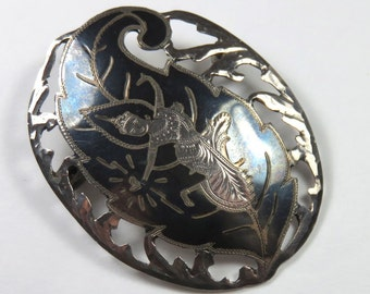 SJK Vintage -- Siam Sterling Niello Dancer Brooch Thailand (1930's-40's)