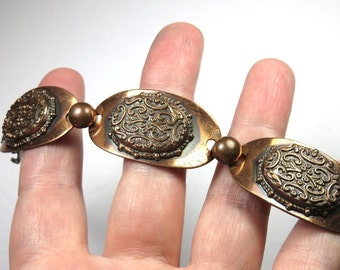 SJK Vintage -- Mid Century Copper Repousse Links Bracelet, Ornate, Art Nouveau (1940's-50's)