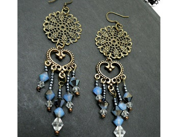Charming Oriental Copper and Blue Earrings