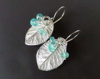 Silver Leaves with Faceted Apatite Rondelles Fine and Sterling Silver Dangle Earrings