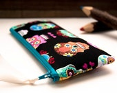 Mother's day gift, Zipper eyeglasses case, cosmetic clutch pouch, bridesmaid gift idea clutch in black colorful sugar skull