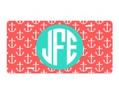 Monogrammed Personalized License Plate tag with Anchor Print   Navy   Hot Pink    Coral