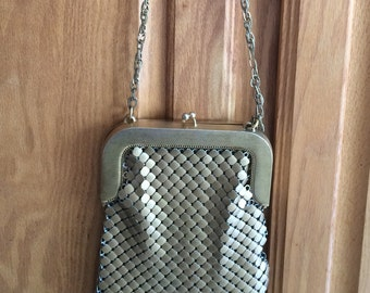 Whiting & Davis Mesh Purse Handbag gold-tone long chain strap large link bronze vintage
