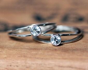 Womens engagement ring set, promise ring set, silver engagement rings, modern engagement, alternative wish rings, custom made to order