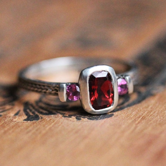 3 ring garnet ring unique mothers ring birthstone