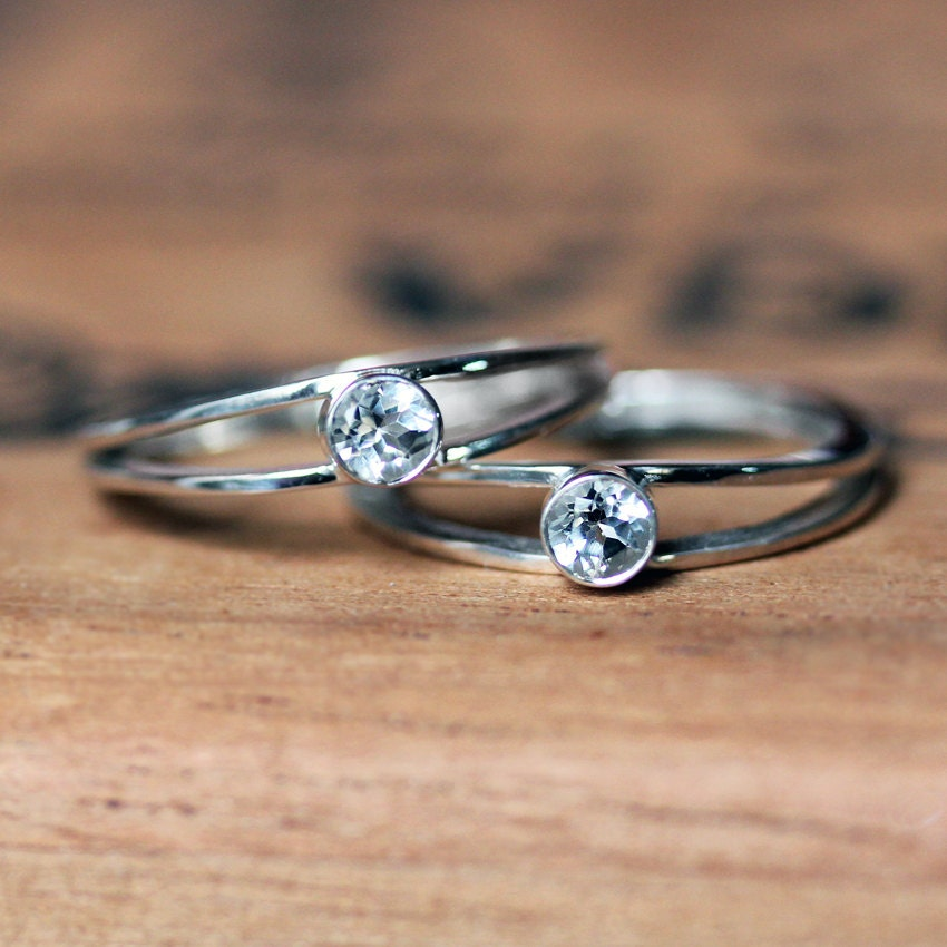 womens engagement ring set promise ring set silver
