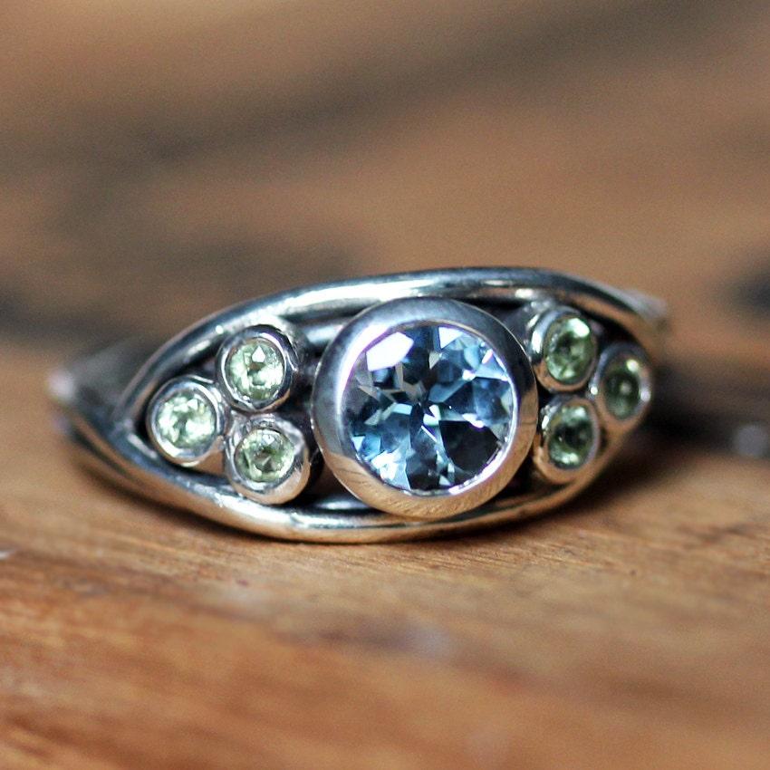 Gemstones For Rings: Multi Stone Nest Ring Unique Gemstone Ring Bezel Gemstone