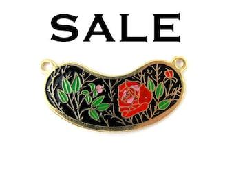 Vintage Red Rose and Pink Flower on Black Cloisonne Enamel Pendants (4X) (E513) SALE - 50% off