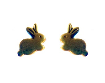 Tiny Brass Bunny Charms (no bail) (10X) (M534-A)