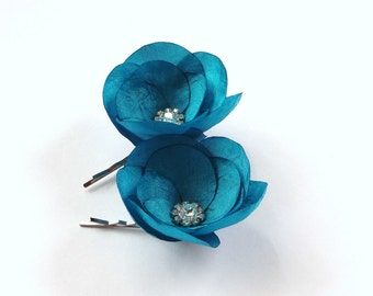 Turquoise Blue Silk Flowers Hair Pins or Shoe Clips Last One
