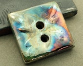 Square 2-hole handmade Raku Button