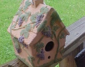 Bird House - Vintage - Ceramic - Grapes - Grapevines - Perfect!