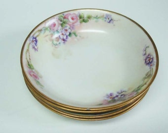 4 Nippon Dessert Bowls Hand Painted Roses