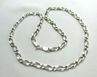 Vintage Sterling Silver 20in Figaro Necklace, 925 Heavy Wide Chain Link - Unisex Jewelry, Father's Day Gift for Him