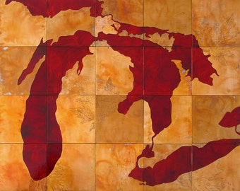 Large Copper Art Great Lakes Map